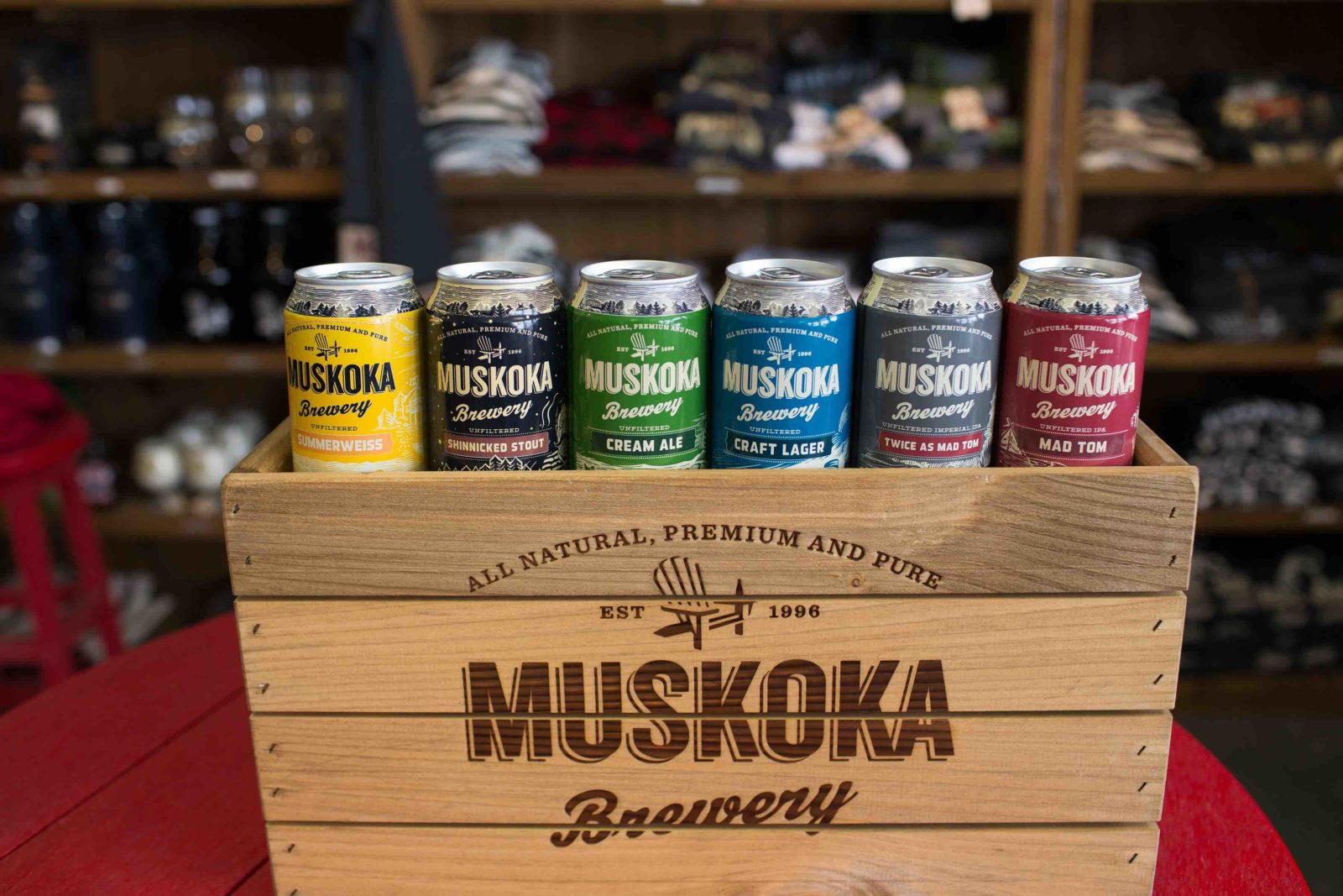 A line-up of Muskoka brewery beers in store