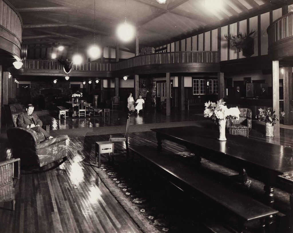 The interior of the original Bigwin Inn on Bigwin Island in the early 1900s