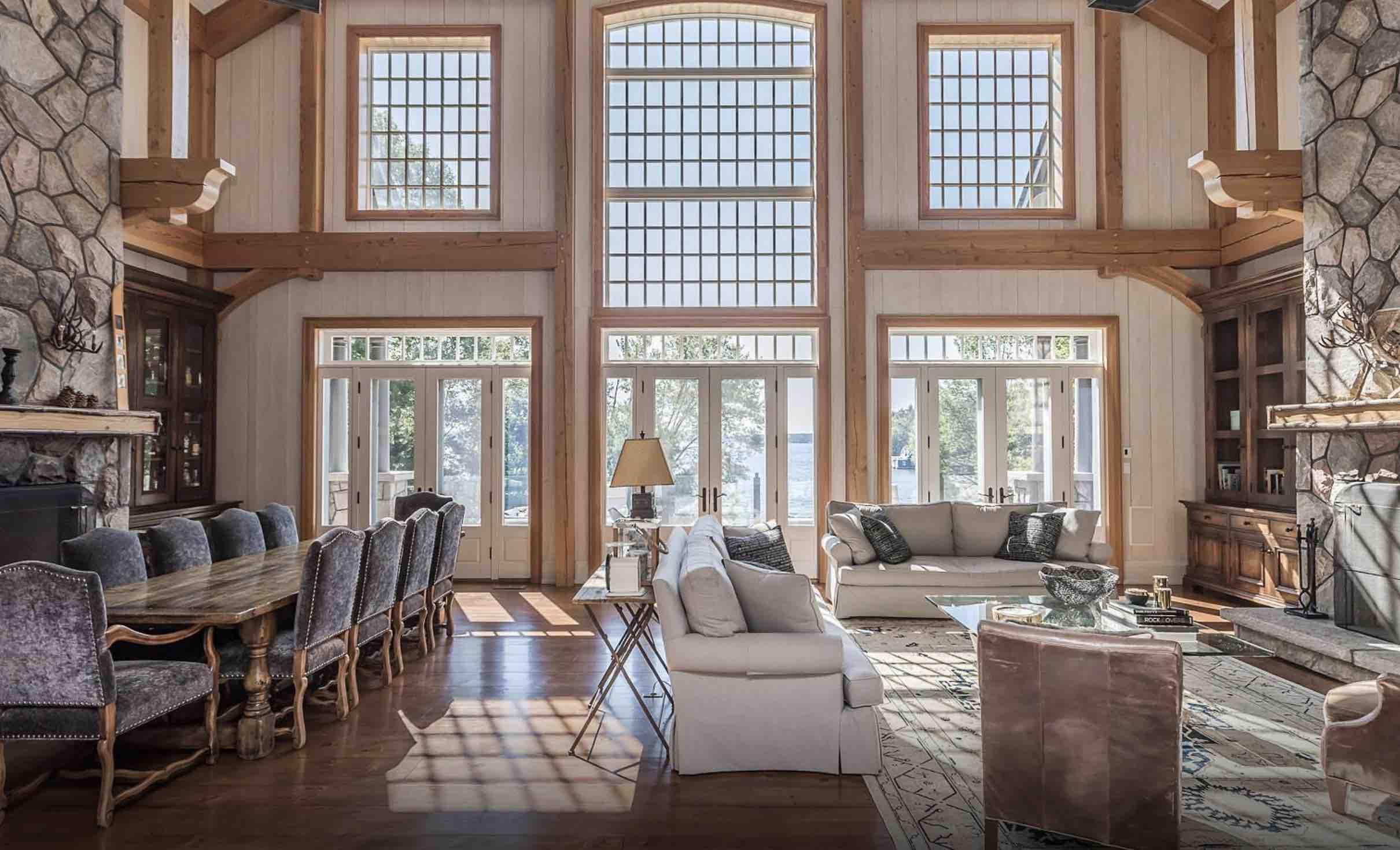 The spectacu;ar living room at Sagamo Estates Lake Rosseau