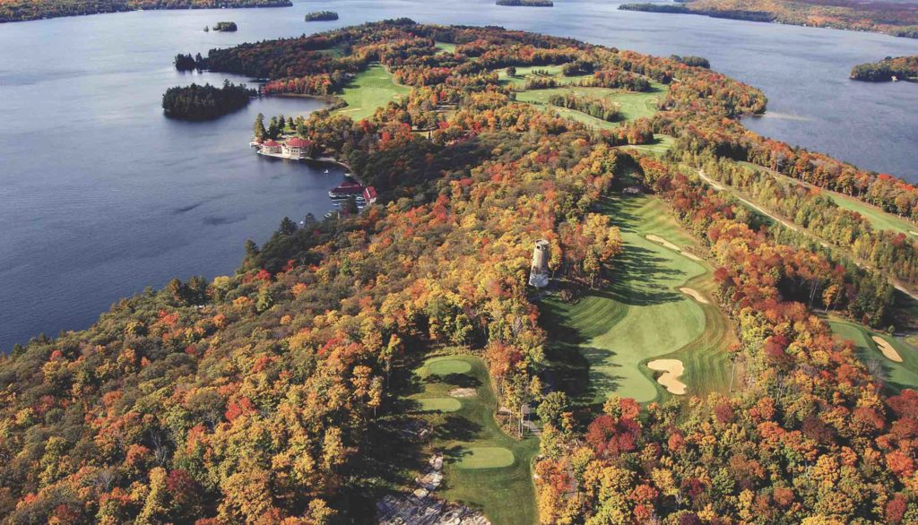 Aerial view of Bigwin Island and golf course