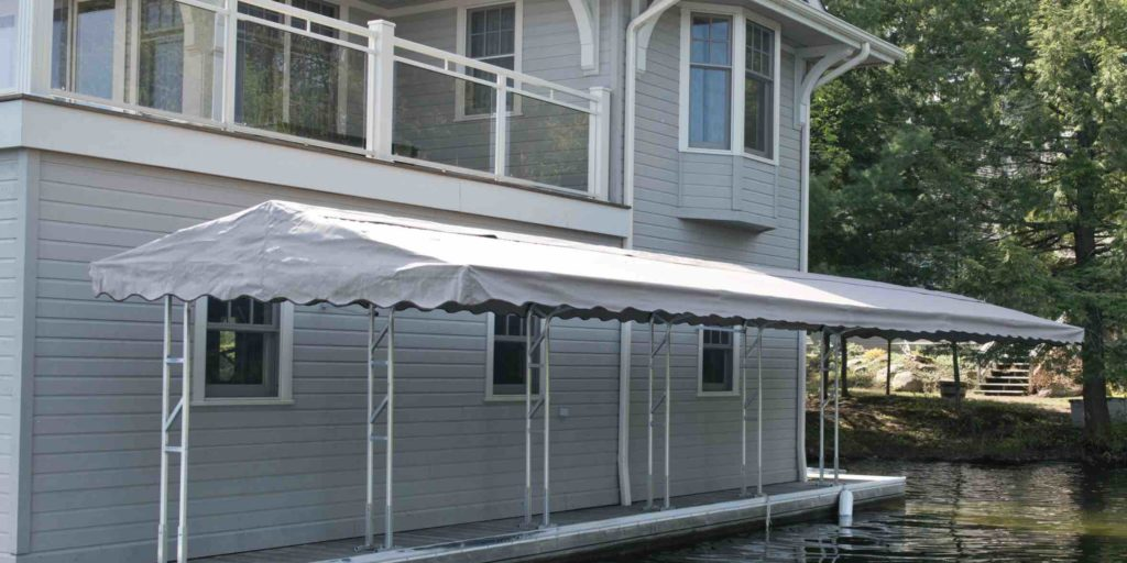 A Muskoka awning set aside a boathouse