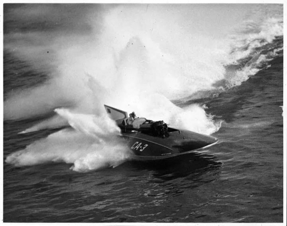 Miss Supertest III shown in an old photo racing across a lake at speed