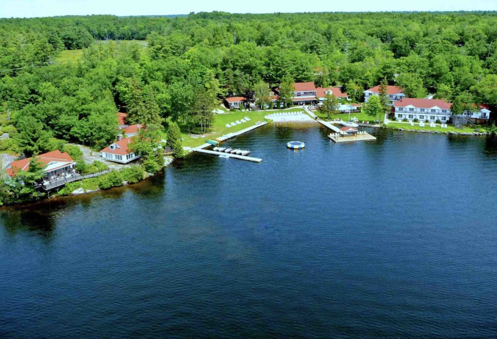 Port Severn Lodge seen here from the air is one of the top rated Muskoka resorts
