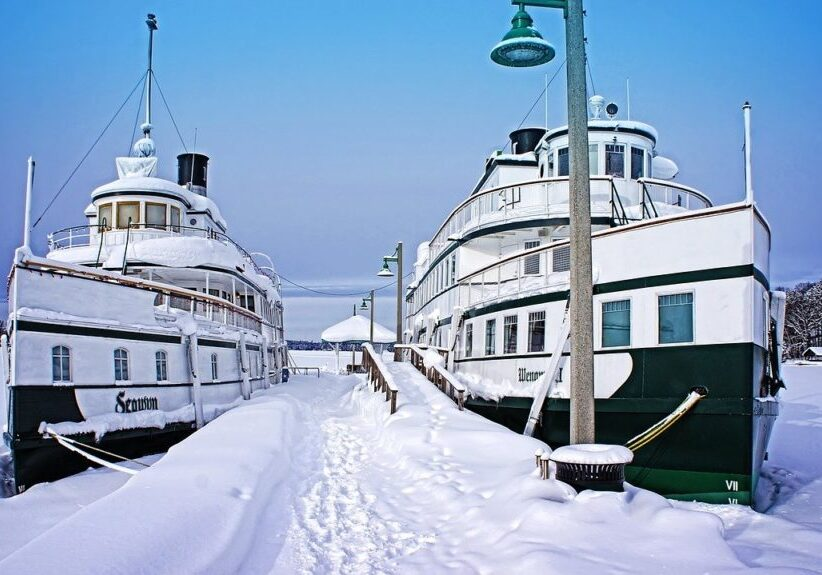 Gravenhurst steamships Segwun and Wenonah in winter and docked